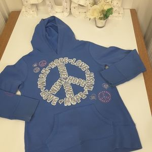 Justice hoodie blue silver bling peace hope love